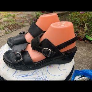 Dansko Women's Black Leather Ankle Strap Sandals